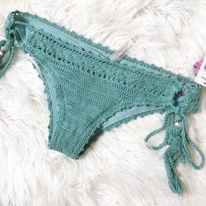 Raisins Swim - Raisins Crochet Mai Tai Teal Bikini Bottom S NWT